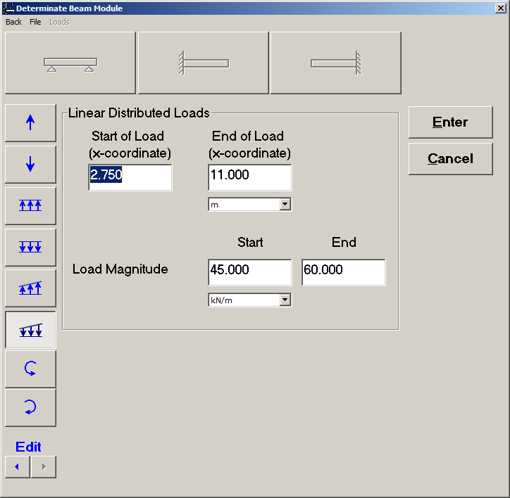 Screenshot From MDSolids Determinate Beam Module Showing Definition Of  Loads.