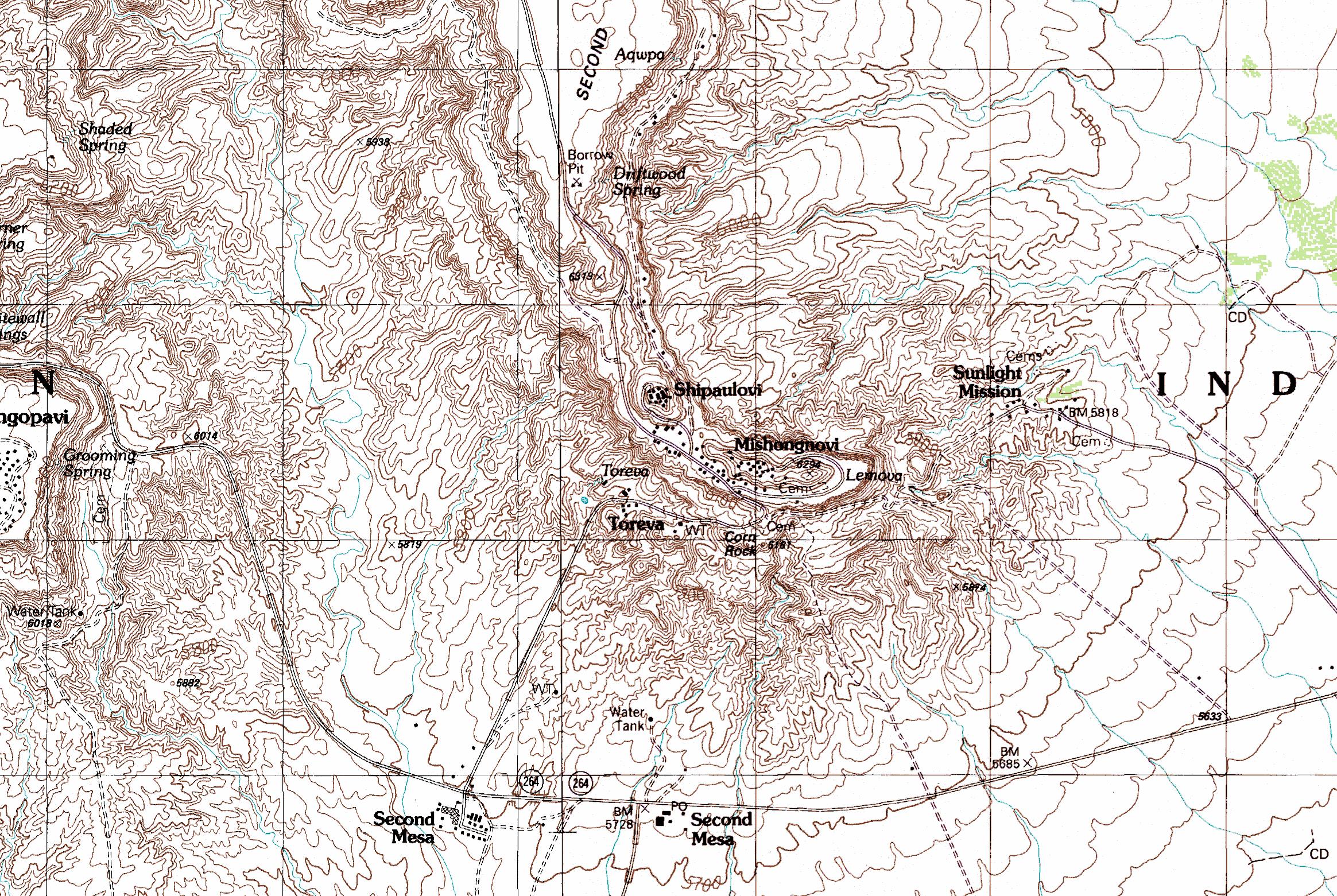 Toreva AZ Landsliding - Arizona topographic map